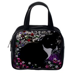 Freckles In Flowers Ii, Black White Tux Cat Classic Handbags (one Side) by DianeClancy