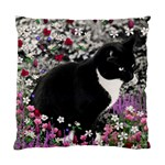 Freckles In Flowers Ii, Black White Tux Cat Standard Cushion Case (One Side) Front