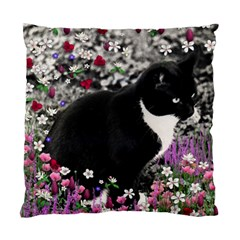 Freckles In Flowers Ii, Black White Tux Cat Standard Cushion Case (two Sides) by DianeClancy