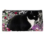 Freckles In Flowers Ii, Black White Tux Cat Pencil Cases Front