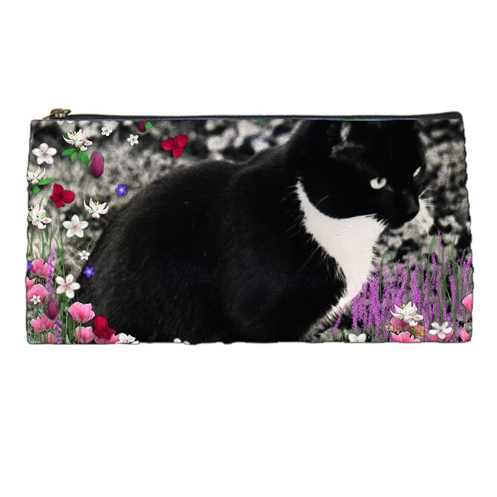 Freckles In Flowers Ii, Black White Tux Cat Pencil Cases