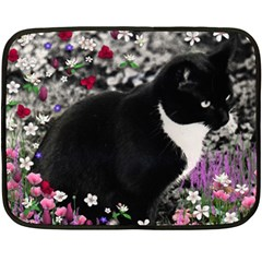 Freckles In Flowers Ii, Black White Tux Cat Double Sided Fleece Blanket (mini)  by DianeClancy