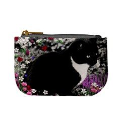Freckles In Flowers Ii, Black White Tux Cat Mini Coin Purses by DianeClancy