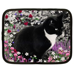 Freckles In Flowers Ii, Black White Tux Cat Netbook Case (xl)  by DianeClancy