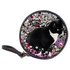 Freckles In Flowers Ii, Black White Tux Cat Classic 20 Cd Wallets by DianeClancy