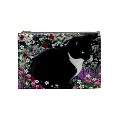 Freckles In Flowers Ii, Black White Tux Cat Cosmetic Bag (medium)  by DianeClancy