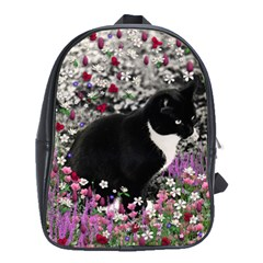 Freckles In Flowers Ii, Black White Tux Cat School Bags(large)  by DianeClancy