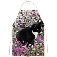 Freckles In Flowers Ii, Black White Tux Cat Full Print Aprons by DianeClancy
