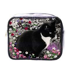 Freckles In Flowers Ii, Black White Tux Cat Mini Toiletries Bags by DianeClancy