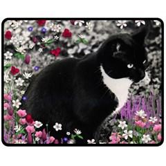 Freckles In Flowers Ii, Black White Tux Cat Fleece Blanket (medium)  by DianeClancy