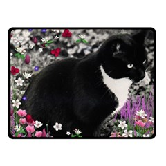 Freckles In Flowers Ii, Black White Tux Cat Fleece Blanket (small) by DianeClancy