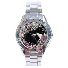 Freckles In Flowers Ii, Black White Tux Cat Stainless Steel Analogue Watch by DianeClancy