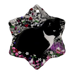 Freckles In Flowers Ii, Black White Tux Cat Ornament (snowflake)  by DianeClancy