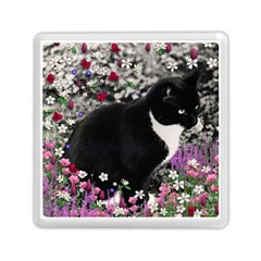 Freckles In Flowers Ii, Black White Tux Cat Memory Card Reader (square)  by DianeClancy