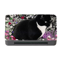 Freckles In Flowers Ii, Black White Tux Cat Memory Card Reader With Cf by DianeClancy
