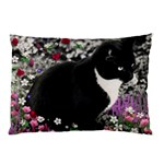 Freckles In Flowers Ii, Black White Tux Cat Pillow Case (Two Sides) Back