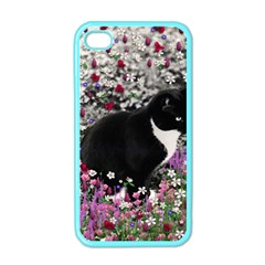 Freckles In Flowers Ii, Black White Tux Cat Apple Iphone 4 Case (color) by DianeClancy