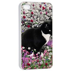 Freckles In Flowers Ii, Black White Tux Cat Apple Iphone 4/4s Seamless Case (white) by DianeClancy