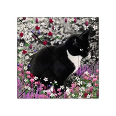 Freckles In Flowers Ii, Black White Tux Cat Acrylic Tangram Puzzle (4  X 4 ) by DianeClancy