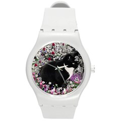 Freckles In Flowers Ii, Black White Tux Cat Round Plastic Sport Watch (m) by DianeClancy