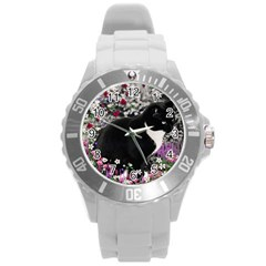 Freckles In Flowers Ii, Black White Tux Cat Round Plastic Sport Watch (l) by DianeClancy