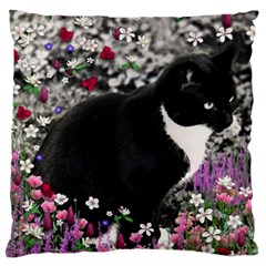 Freckles In Flowers Ii, Black White Tux Cat Large Cushion Case (two Sides) by DianeClancy