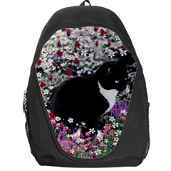 Freckles In Flowers Ii, Black White Tux Cat Backpack Bag by DianeClancy