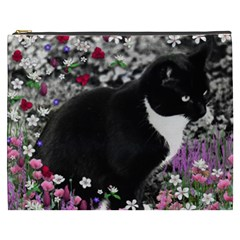 Freckles In Flowers Ii, Black White Tux Cat Cosmetic Bag (xxxl)  by DianeClancy