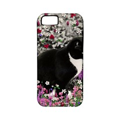 Freckles In Flowers Ii, Black White Tux Cat Apple Iphone 5 Classic Hardshell Case (pc+silicone) by DianeClancy