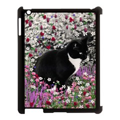 Freckles In Flowers Ii, Black White Tux Cat Apple Ipad 3/4 Case (black) by DianeClancy