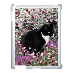 Freckles In Flowers Ii, Black White Tux Cat Apple Ipad 3/4 Case (white) by DianeClancy