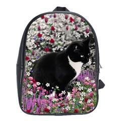 Freckles In Flowers Ii, Black White Tux Cat School Bags (xl)  by DianeClancy