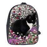 Freckles In Flowers Ii, Black White Tux Cat School Bags (XL)
