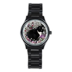 Freckles In Flowers Ii, Black White Tux Cat Stainless Steel Round Watch by DianeClancy