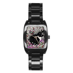 Freckles In Flowers Ii, Black White Tux Cat Stainless Steel Barrel Watch by DianeClancy