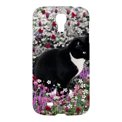 Freckles In Flowers Ii, Black White Tux Cat Samsung Galaxy S4 I9500/i9505 Hardshell Case by DianeClancy