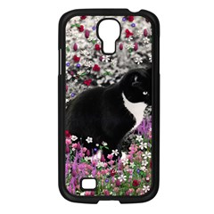 Freckles In Flowers Ii, Black White Tux Cat Samsung Galaxy S4 I9500/ I9505 Case (black) by DianeClancy