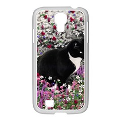 Freckles In Flowers Ii, Black White Tux Cat Samsung Galaxy S4 I9500/ I9505 Case (white) by DianeClancy