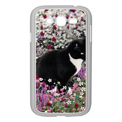Freckles In Flowers Ii, Black White Tux Cat Samsung Galaxy Grand Duos I9082 Case (white) by DianeClancy