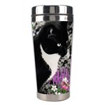 Freckles In Flowers Ii, Black White Tux Cat Stainless Steel Travel Tumblers Right