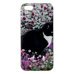 Freckles In Flowers Ii, Black White Tux Cat Iphone 5s/ Se Premium Hardshell Case by DianeClancy