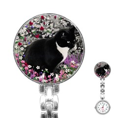 Freckles In Flowers Ii, Black White Tux Cat Stainless Steel Nurses Watch by DianeClancy