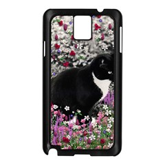 Freckles In Flowers Ii, Black White Tux Cat Samsung Galaxy Note 3 N9005 Case (black) by DianeClancy