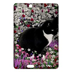 Freckles In Flowers Ii, Black White Tux Cat Amazon Kindle Fire Hd (2013) Hardshell Case by DianeClancy