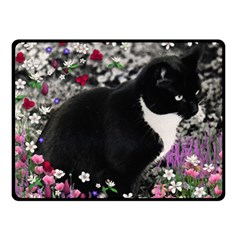 Freckles In Flowers Ii, Black White Tux Cat Double Sided Fleece Blanket (small)  by DianeClancy