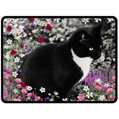 Freckles In Flowers Ii, Black White Tux Cat Double Sided Fleece Blanket (large)  by DianeClancy