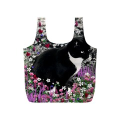 Freckles In Flowers Ii, Black White Tux Cat Full Print Recycle Bags (s)  by DianeClancy