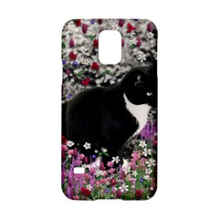 Freckles In Flowers Ii, Black White Tux Cat Samsung Galaxy S5 Hardshell Case  by DianeClancy