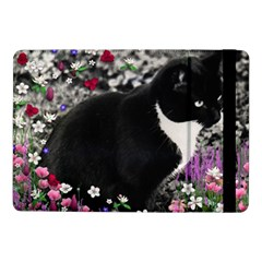 Freckles In Flowers Ii, Black White Tux Cat Samsung Galaxy Tab Pro 10 1  Flip Case by DianeClancy