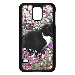 Freckles In Flowers Ii, Black White Tux Cat Samsung Galaxy S5 Case (black) by DianeClancy